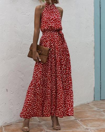 Vacation Halter Printed Sleeveless Dress