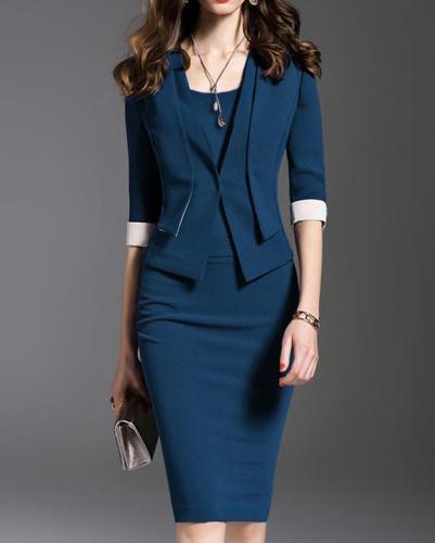 V-Neck Plain Bodycon Dress
