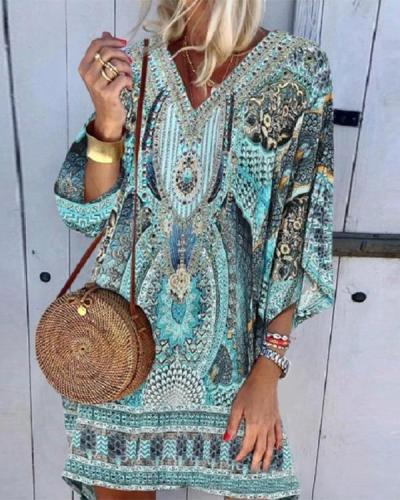Boho Printed Casual Dress