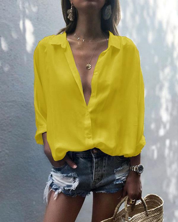 Women's Long Sleeve V Neck Shirt Turndown Collar Chiffon Plain Loose Blouses