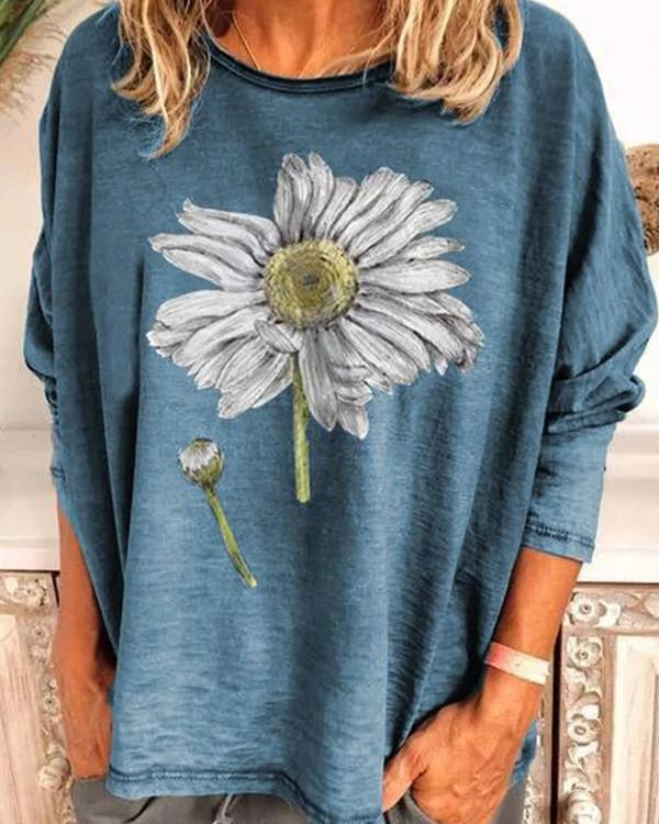 Sunflower Print Crew Neck Polyester Long Sleeve T-Shirts