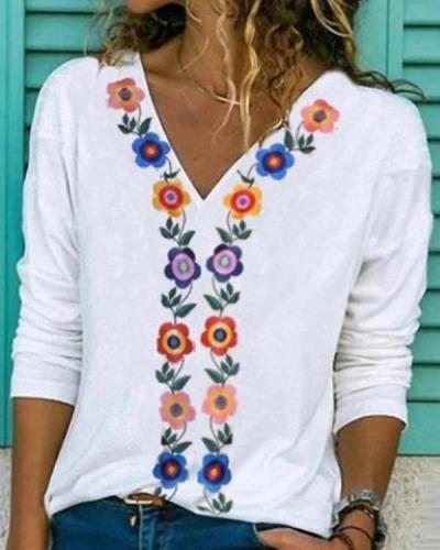 Tribal Printed Long sleeve V neck Blouses