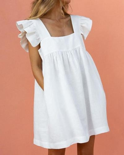 Square Neck Ruffle Sleeve Mini Dress