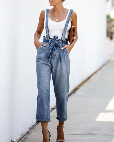 Solid Color High Waist Belt Strap Jeans Jumpsuit