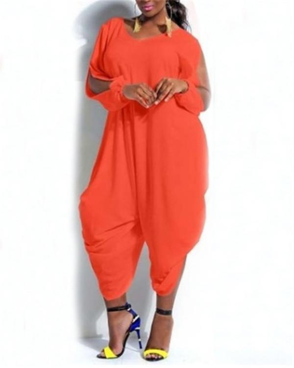 Solid V-collar Polychromatic Jumpsuit