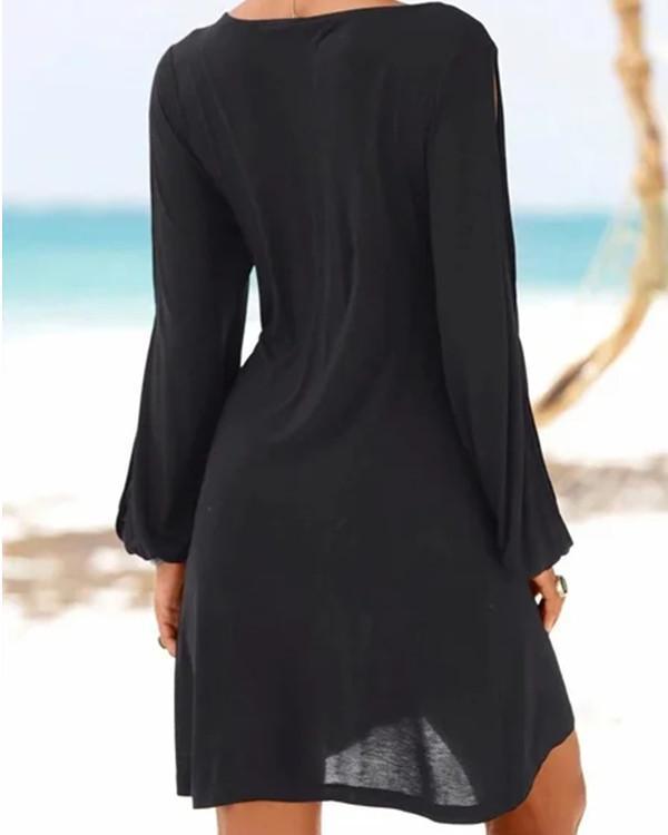 Black Crew Neck Casual Dresses