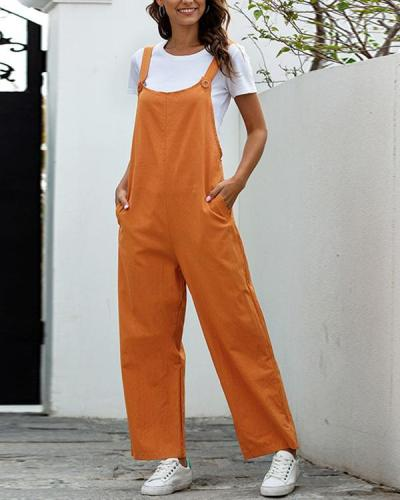 Women Button Decor Thick Strap Casual Outfit Jumpsuits
