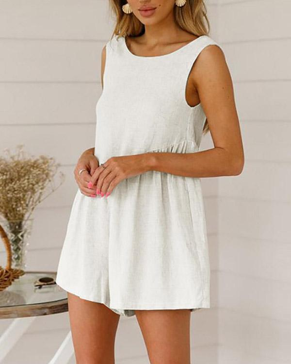 Sleeveless Loose Solid Casual Romper Jumpsuit