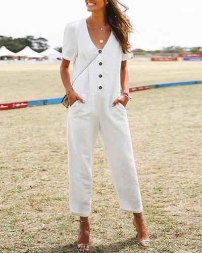 Solid Casual Paneled Buttoned V-neck Pockets Jumpsuit