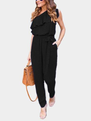 Tiered Design One Shoulder Sleeveless Jumpsuits