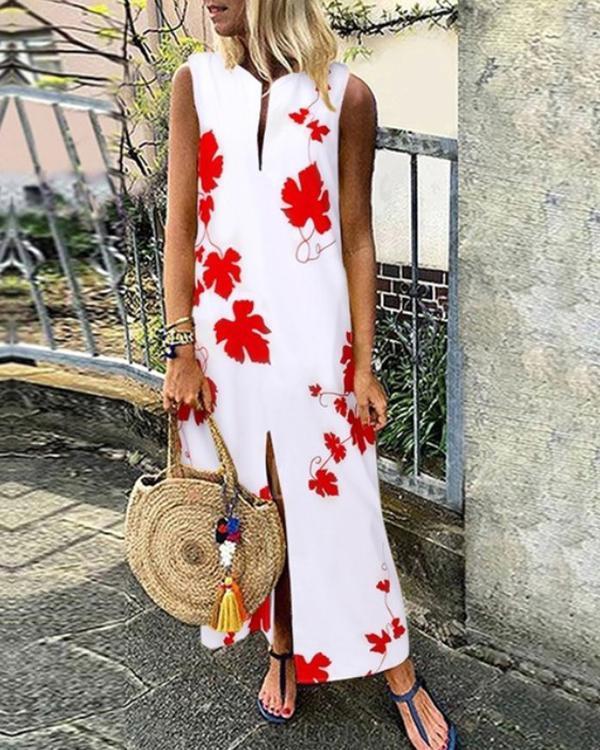 Casual Floral V-Neckline Maxi Vintage Dress