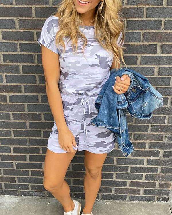 Women Cotton Camouflage Gray Casual Jumpsuits