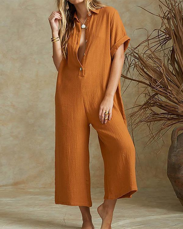 Solid Casual Wide Leg Buttoned Jumpsuit