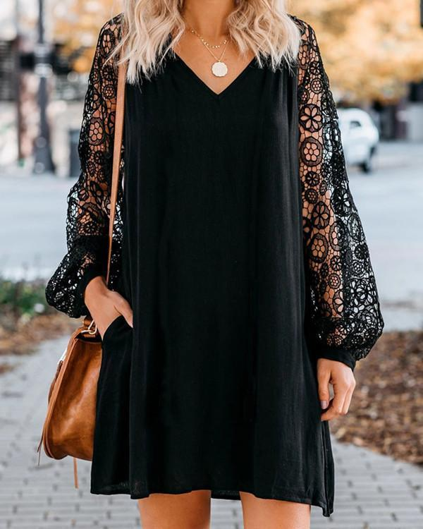 Black Long Sleeve Lace V-Neck Dress