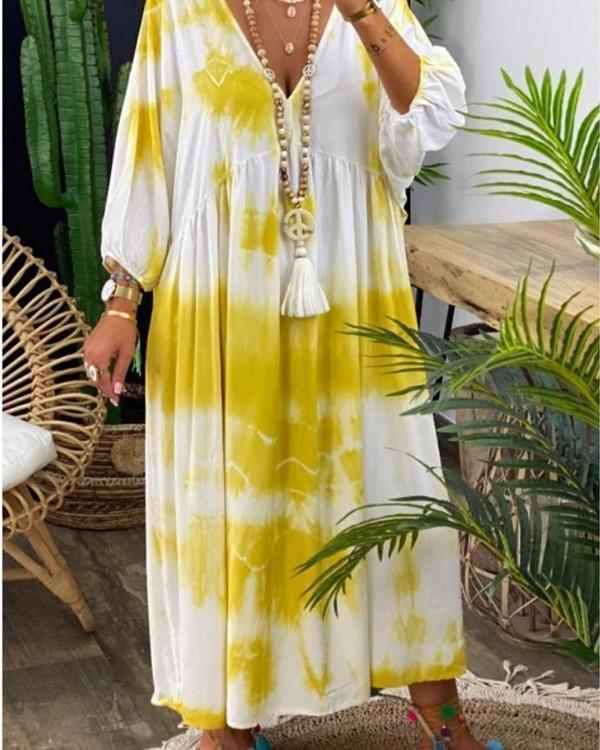 Gradient Print Paneled Plunging Neck Holiday Maxi Dress
