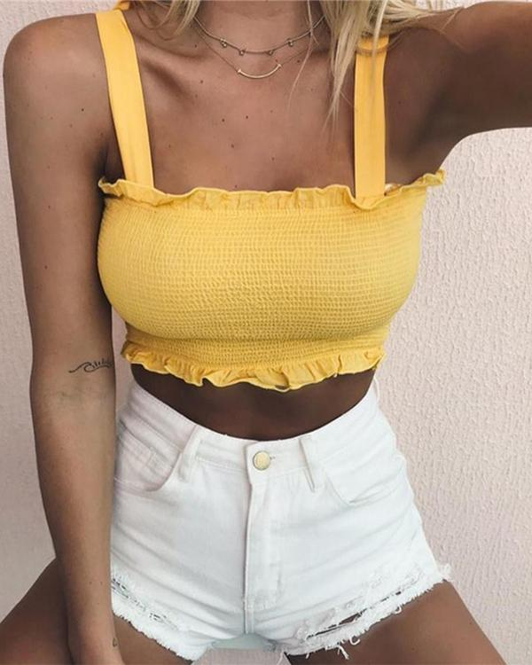 Summer Sexy Solid Color Lace Bow Straps Tube Top Sleeveless Strap Vest