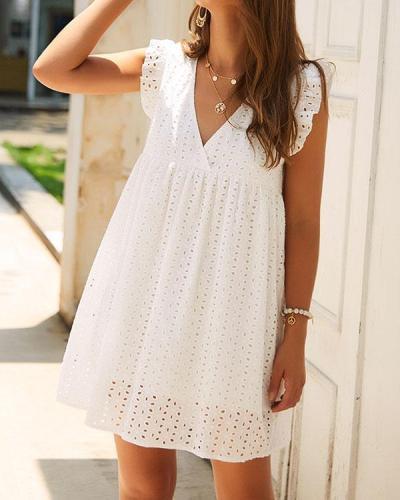 Summer Hollow Lace Hem Decorated Mini Dress