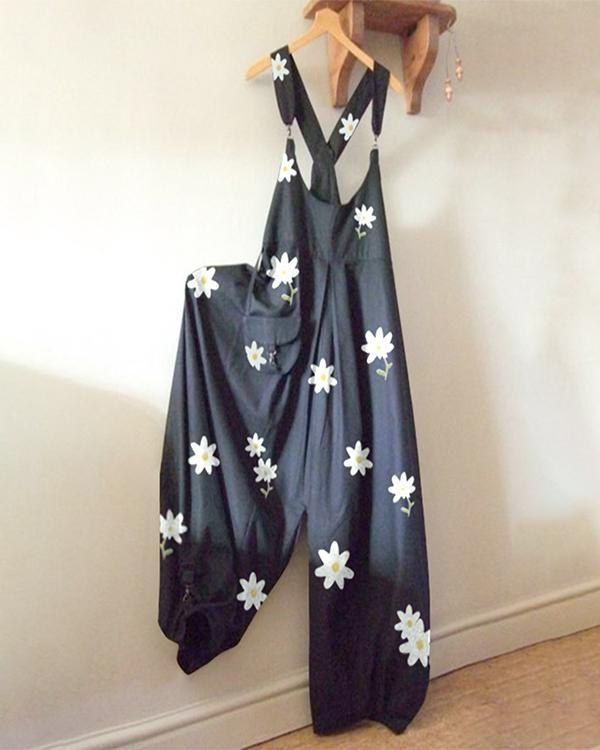 Floral Printed Casual Sleeveless Jumpsuit