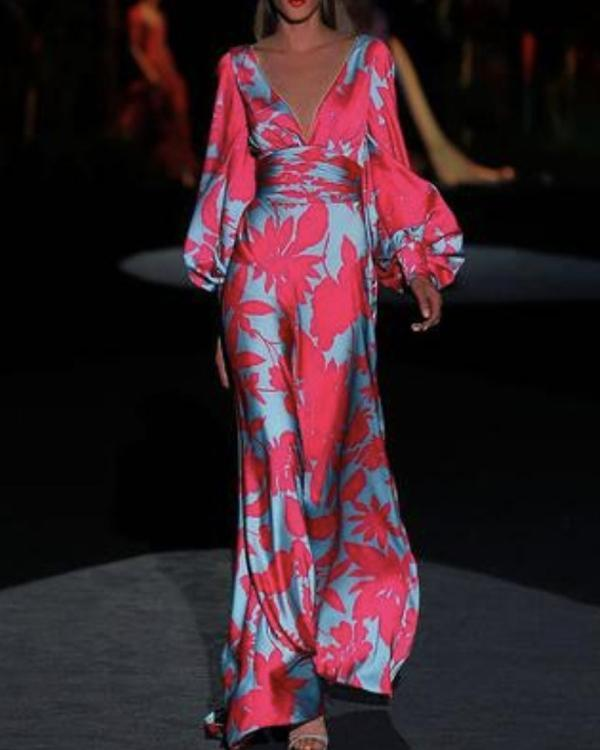 Women V-neck Elegant Printed Maxi Dress