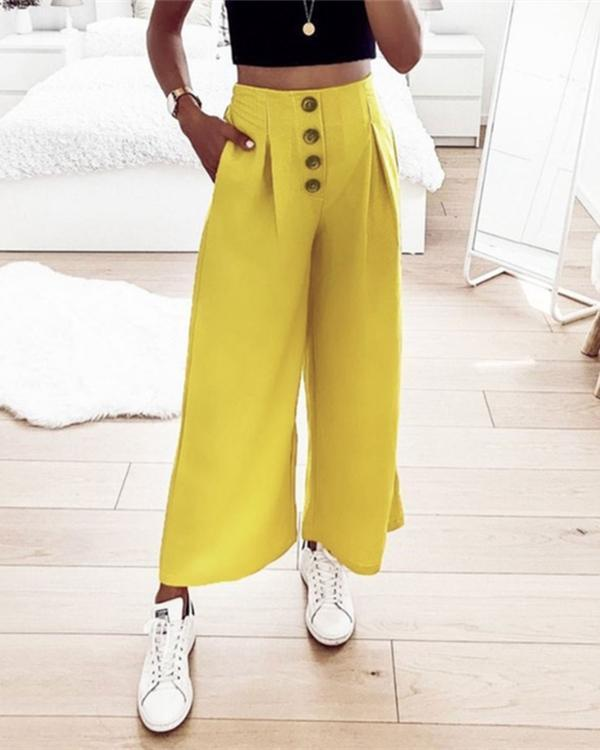 Solid Casual Button Pockets Elastic Waist Harem Pants