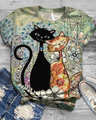 Cute Cat Printed Casual Crew Neck Shirts & Tops