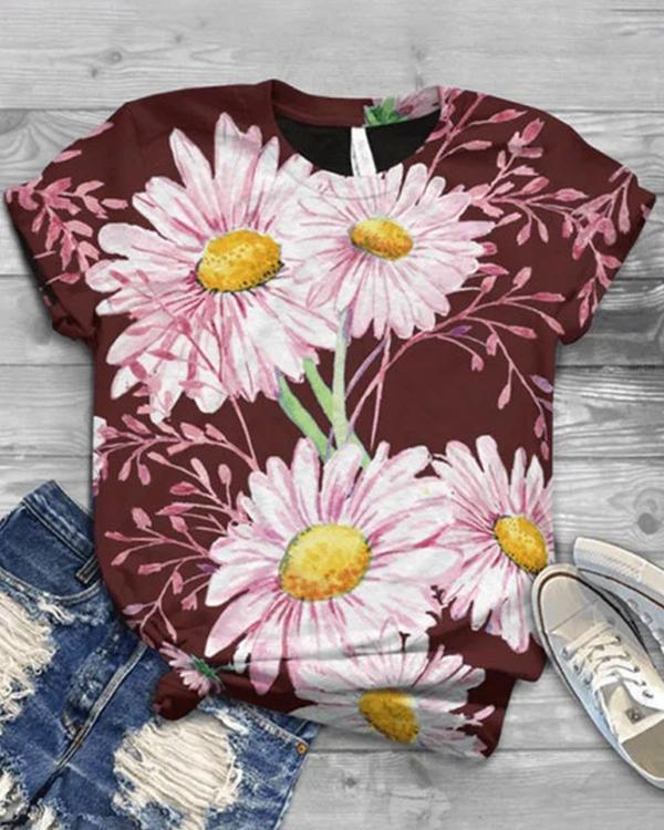 Flower Printed Casual Crew Neck Shirts & Tops