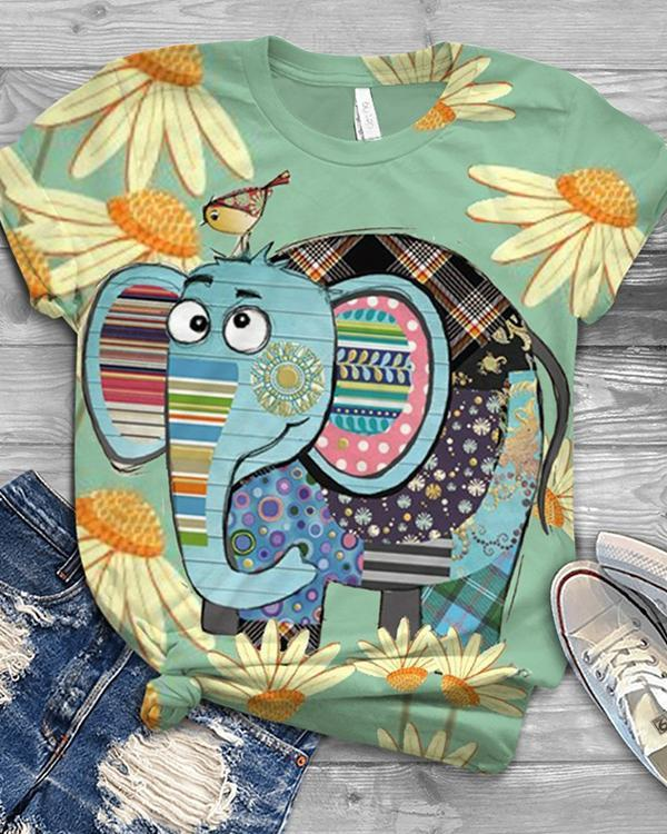 Elephant Printed Casual Crew Neck Cotton-Blend Shirts & Tops