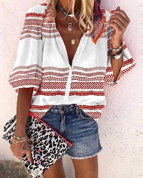 Printed Casual V-Neckline 3/4 Sleeves Women Blouses