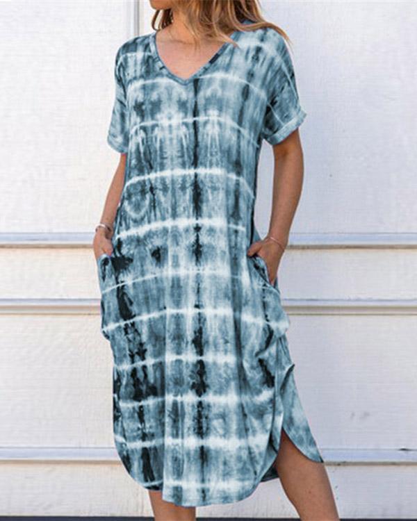 Summer Short Sleeve Plaid Print Loose Dress