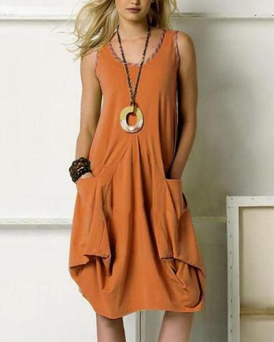 Solid Pockets Sleeveless Casual Midi Dress