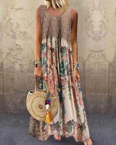 Paneled Geometric Floral Print Sleeveless Vintage Maxi Dress