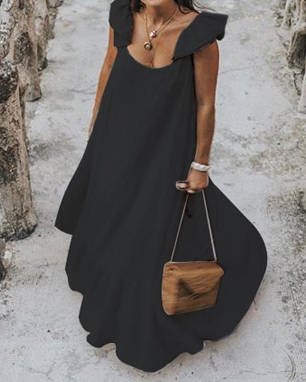 Solid Bohemian Sleeveless Fashion Summer Holiday Maxi Dresses