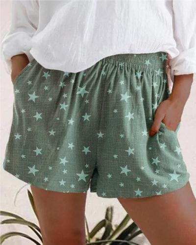 Star Print Waistband Shorts