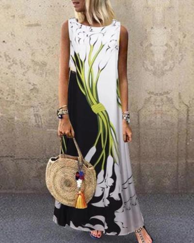 Sleeveless Color-block Floral Print Holiday Maxi Dress