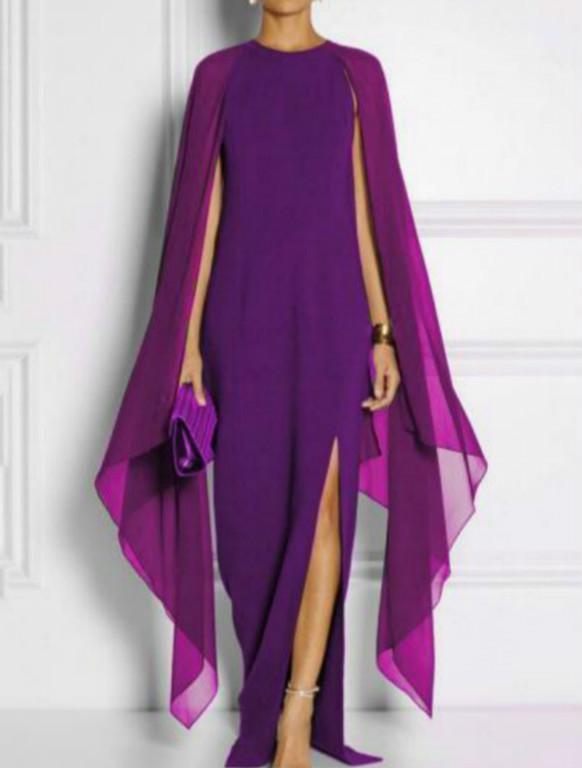 Women Plus Size Vintage Bat Sleeve Loose Solid Dress