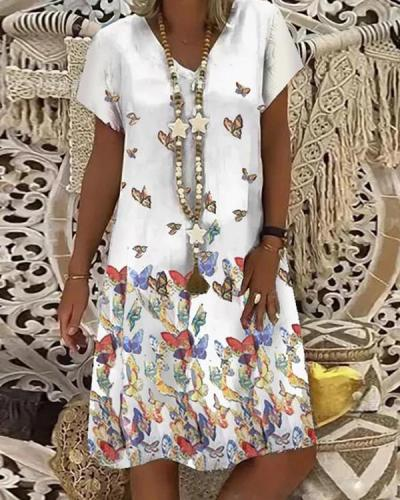 V-neck Mid-length Women's Dress Daily Butterfly Print Dress