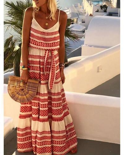 Summer Boho Plus Size V Neck Gallus Maxi Dress