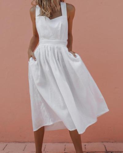 Summer Sexy Strap Button Pleated Solid Sleeveless Dress