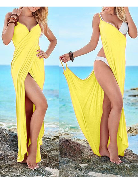Summer V Neck Asymmetrical Beach Maxi Dresses