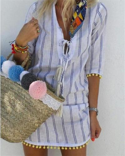 Stripe Bohemian Fashion Summer Mini Holiday Dresses
