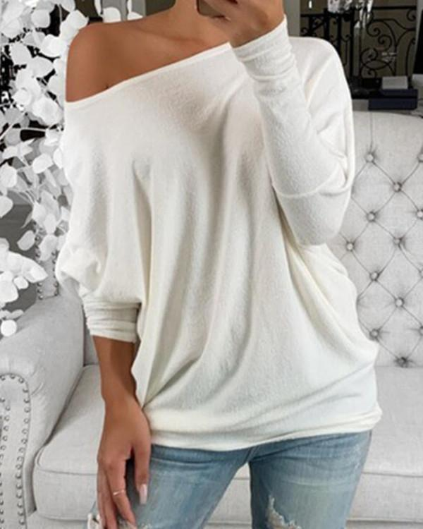 Solid One-Shoulder Batwing Sleeve Long Sleeves Casual T-shirts