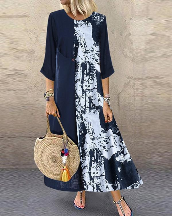 Vintage Crew  Neck Summer Long Sleeve Printed Long Sleeve  Maxi Dresses