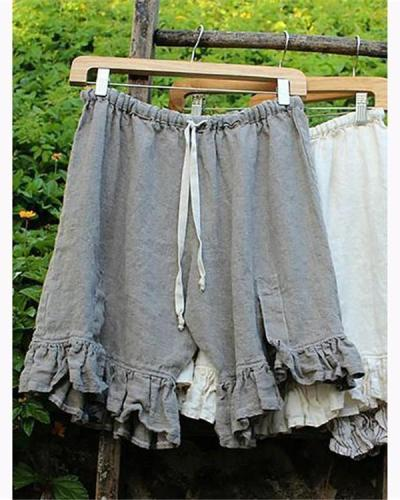 Solid Color Elastic Band Ruffle Short Pants