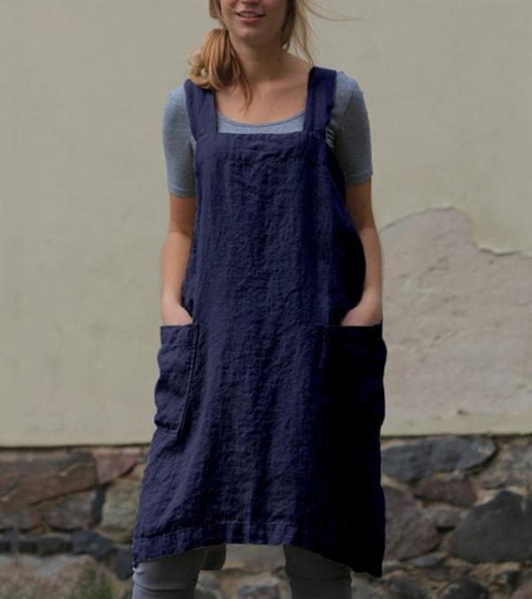 Square Neck Women Shift Daily Cotton-Blend Pockets Dress