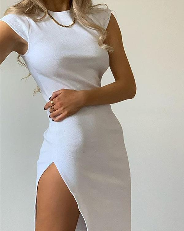 Simple Side Slit Short Sleeve Dress