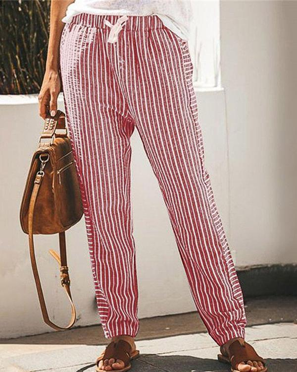 Striped Casual Elastic Waist Wide Leg Pants