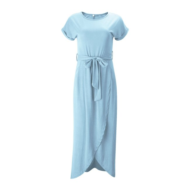 Solid Color Split-front Round-neck Maxi Dress