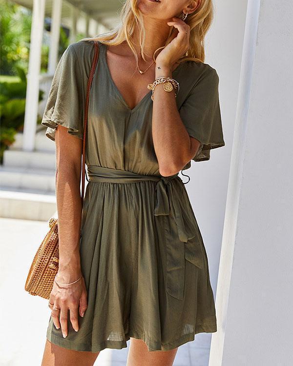 Solid V-neck Lace-up Waist With Belt Mini Dress