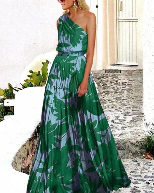 Vacation Sexy One Shoulder Print Maxi Dress