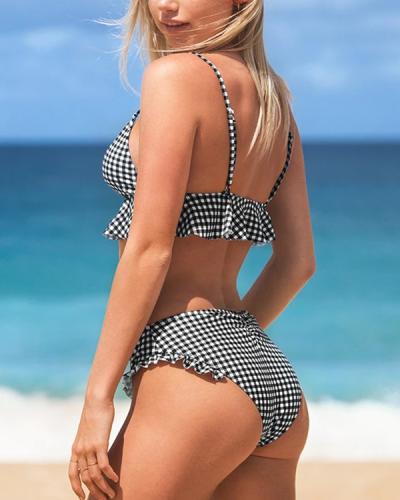 Sexy Plaid Bikini Ruffle Swimsuit